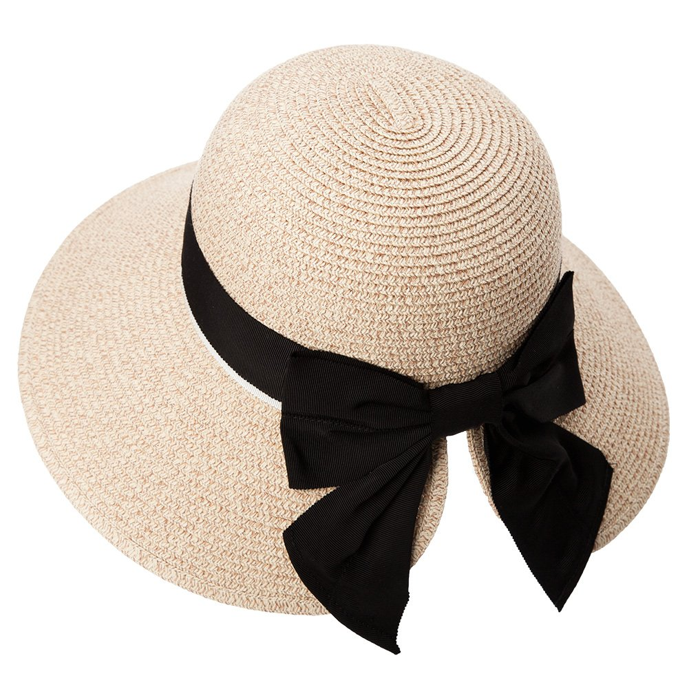 Womens Floppy Summer Sun Beach Straw Hats Accessories Wide Brim SPF 50 Crushable 56-58cm Beige by Comhats
