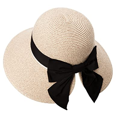 e700997f4b6 Packable Womens Small Head Straw Ponytali Fedora Sun Hat Summer Beach Wide  Brim Panama Cloche Beige