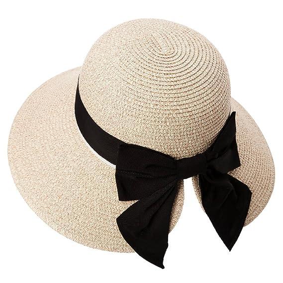 Siggi Femme Chapeau de Paille Pliable Capeline UPF50 Été Tresse Pare-Soleil  Large Bord Plage 2916ba2a96a