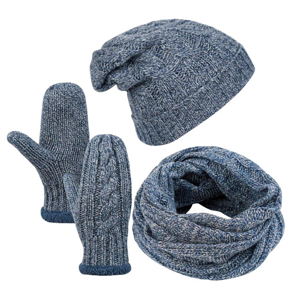 Vbiger Wintermütze Herren Mütze Winter Handschuhe Beanie Strickmütze Winterschal Warme Mützeset, Blau, Einheitsgröße
