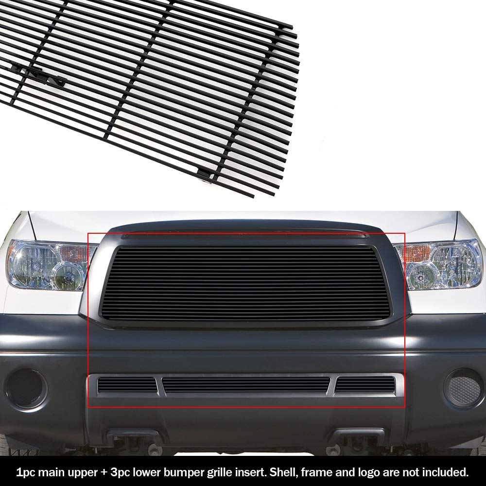 APS Compatible with 2010-2013 Toyota Tundra Black Billet Grille Grill Insert Combo S18-H41018T