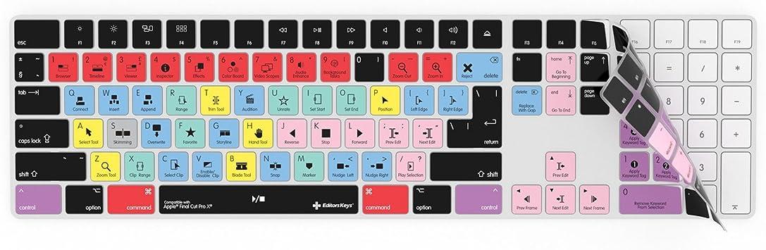 Final Cut Pro X - Funda para teclado inalámbrico Apple Magic con teclado numérico   Protección y accesos directos