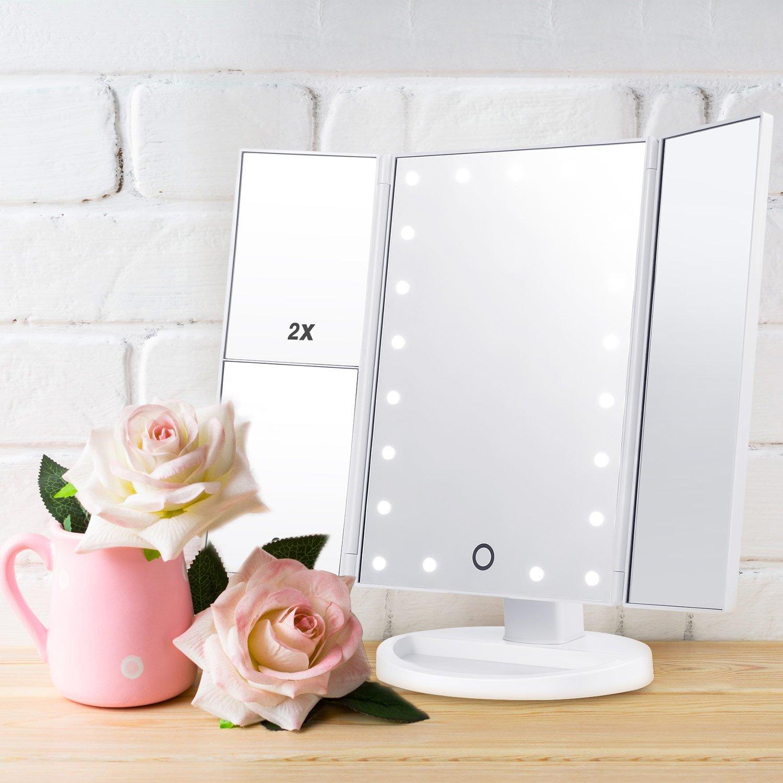 Specchio trucco illuminato a led specchio cosmetico makeup 1x 2x 3x pieghevole ebay - Specchio per trucco illuminato ...