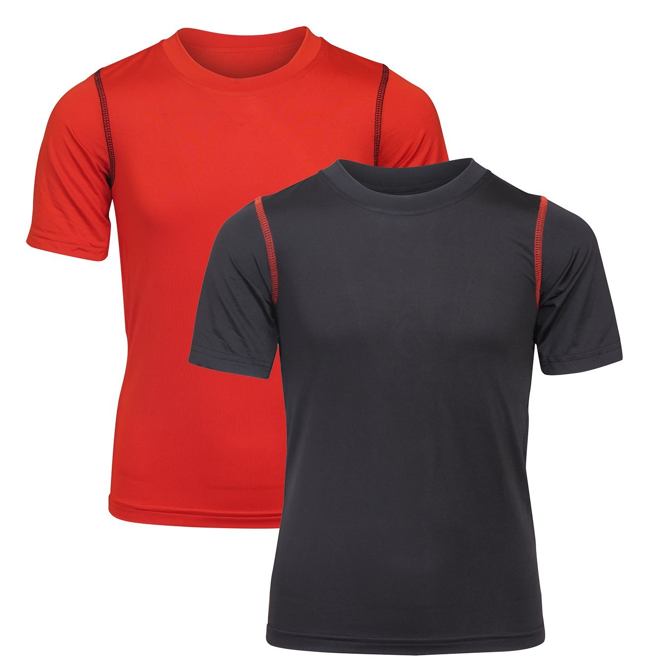 'Black Bear Boys' Performance Dry-Fit T-Shirts, Black and Red, Large / 12-14'