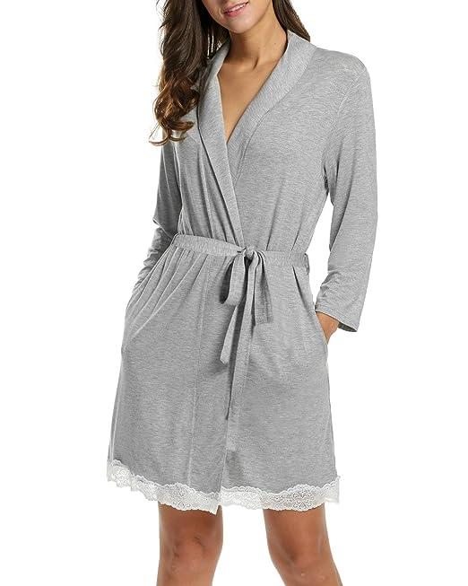 ADOMER Mujer Vestido Kimono Bata Camisón Albornoz Ropa de dormir Pijama?Gris S)