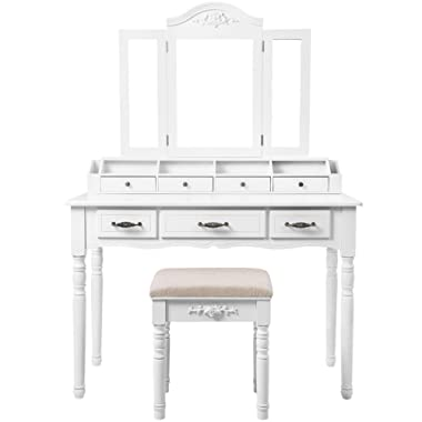 SONGMICS Vanity Set, Tri-Folding Necklace Hooked Mirror, 7 Drawers, 6 Organizers Makeup Dressing Table with Cushioned Stool Easy Assembly, Gift for Girls White URDT06M