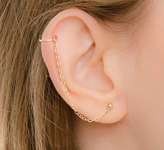Amazoncom Cartilage Chain Stud Earring With Helix Ring Piercing