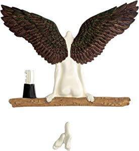 Angel Art Sculpture Wall Decoration 3D Vivid Resin Statue Ornament Wings Decor for Icarus Living Room Bedroom Home Office Had a Sister Art Vintage Style (Brown)