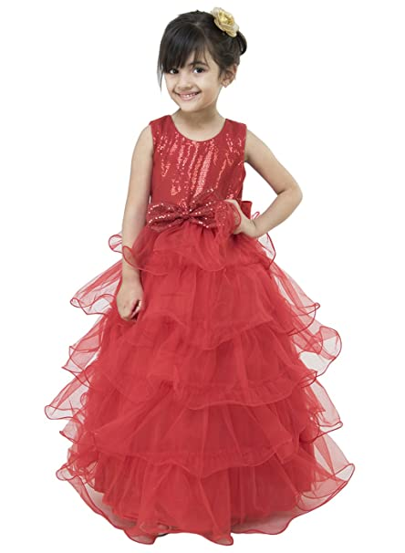 f6b2b08f23b9 Samsara Couture Baby Girls Red Frill Gown Net Sequence and Satin ...