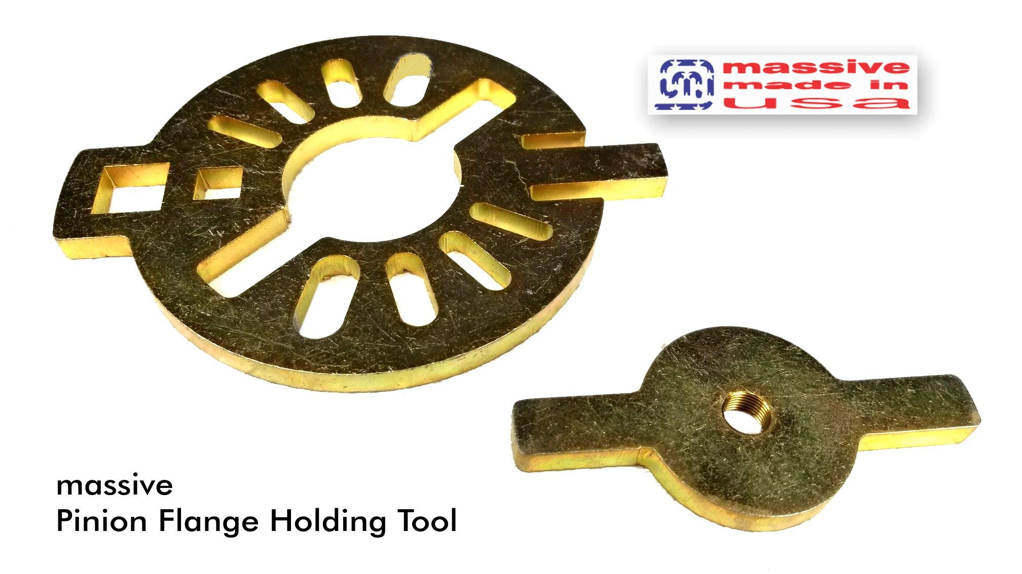 Massive PRO KIT Pinion Flange Holding Tool Holder Yoke Wrench Made USA Jeep Ring Rear End Axle Nut Seal 8.8 40 Dana 3/8'' Thick! by Massive Speed System (Image #3)