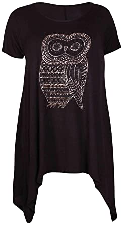 0a9fe5be28ce9 H F Girls Women Ladies Owl Print Plain Stretchy Asymmetric Short Cap Sleeve  Scoop Neck Hanky Hem Flared Glitter Swing Tunic T Shirt Top Truly Plus Size  14 ...