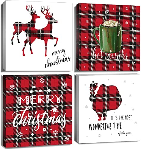 Red Buffalo Plaid Wall Art Decor Snowman Reindeer Drinks Silhouette Themed Canvas Prints Winter White Farmhouse Decorative 28 x 28 Inch 4 Panel