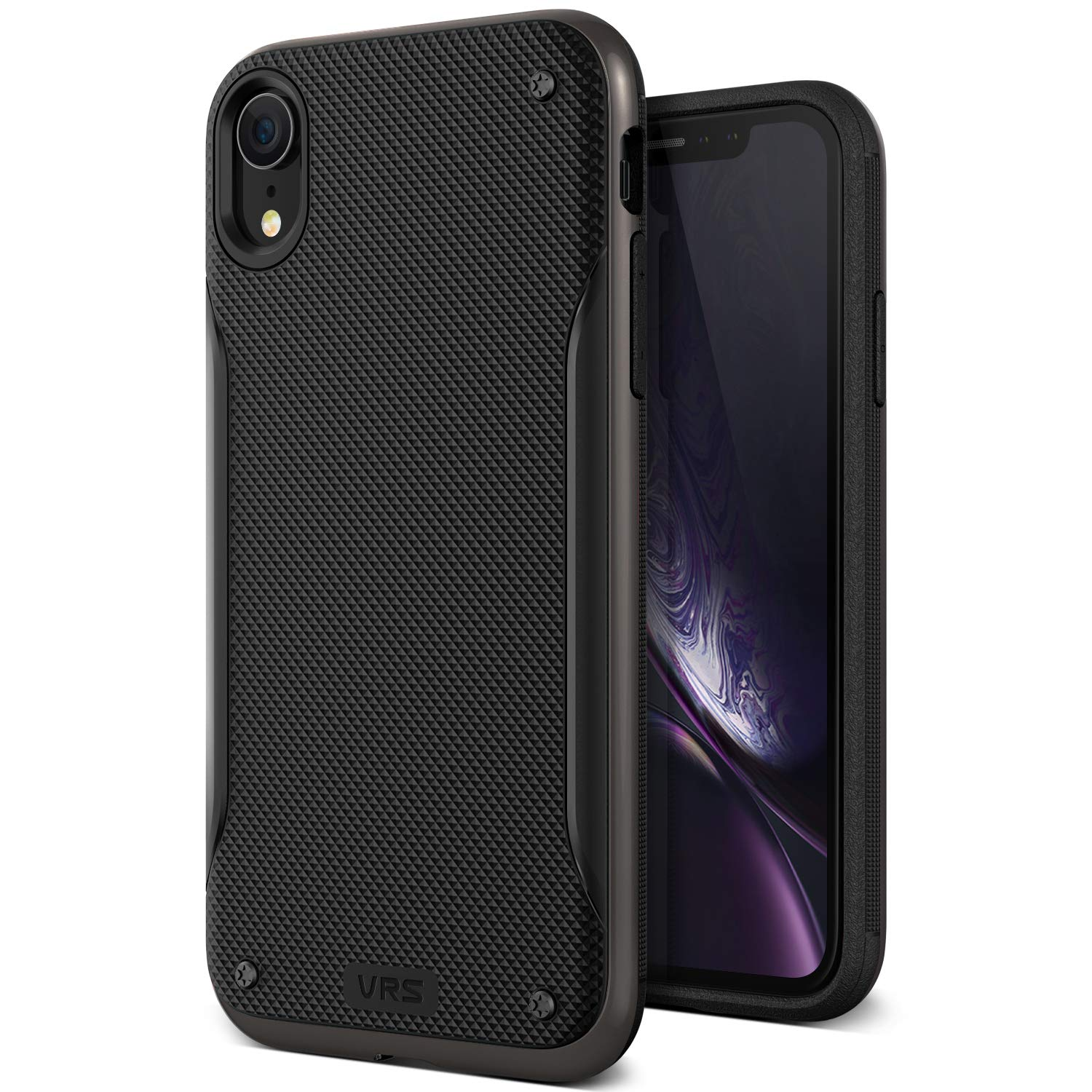 iPhone XR Case, VRS DESIGN [Metal Black] Dual Layer Slim Protective Case [High Pro Shield] Heavy Duty TPU Textured Body PC Bumper Compatible with Apple iPhone XR (2018)