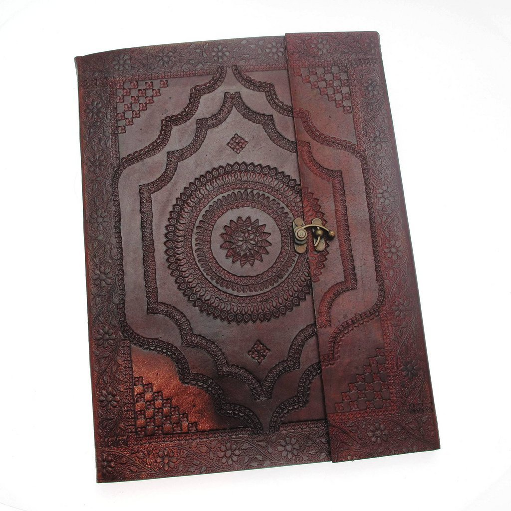 Paper High Indra Extra Large Embossed Leather Photo Album with clasp 260 x 365 mm