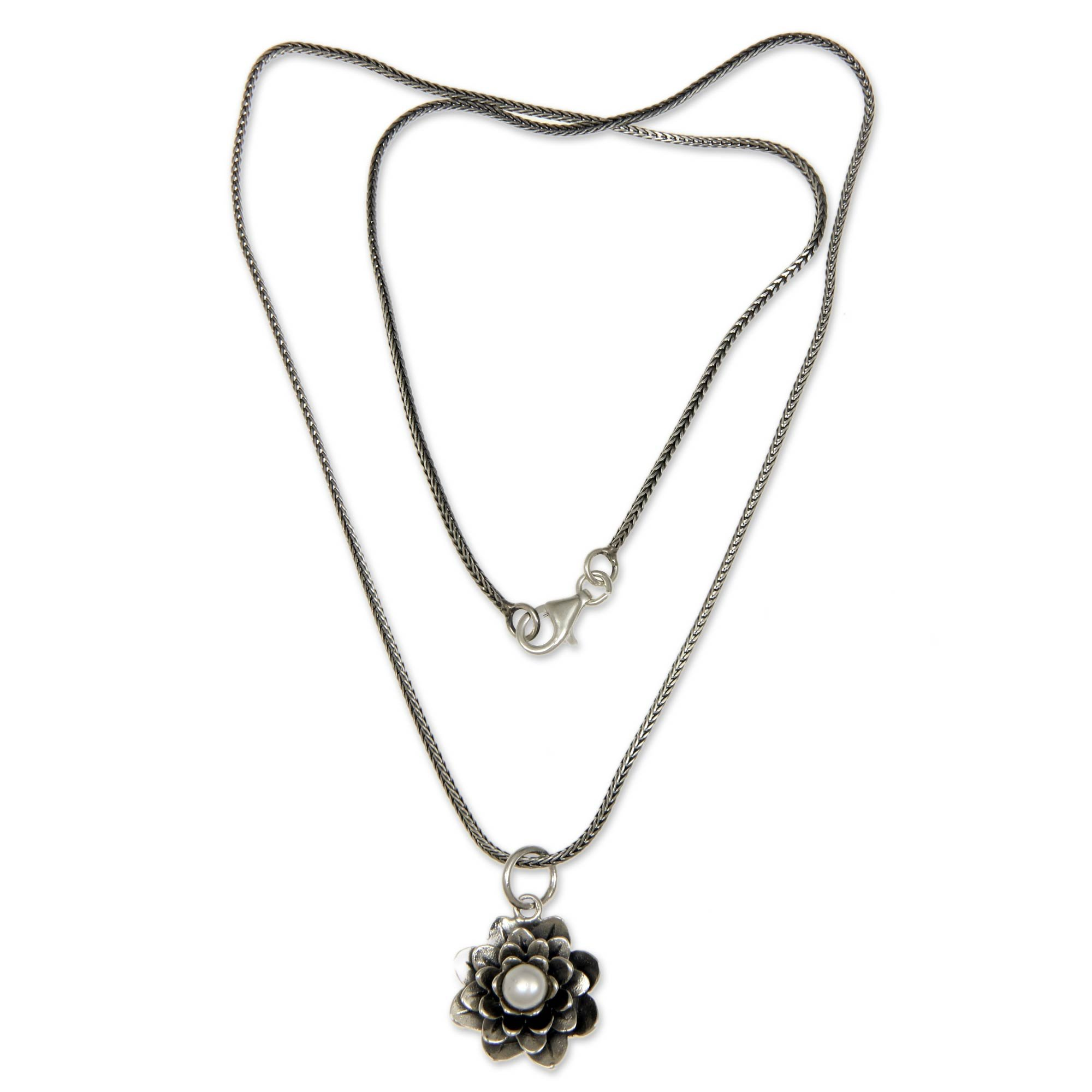 NOVICA Cultured Freshwater Pearl .925 Sterling Silver Pendant Necklace, 17'' 'Sacred White Lotus'