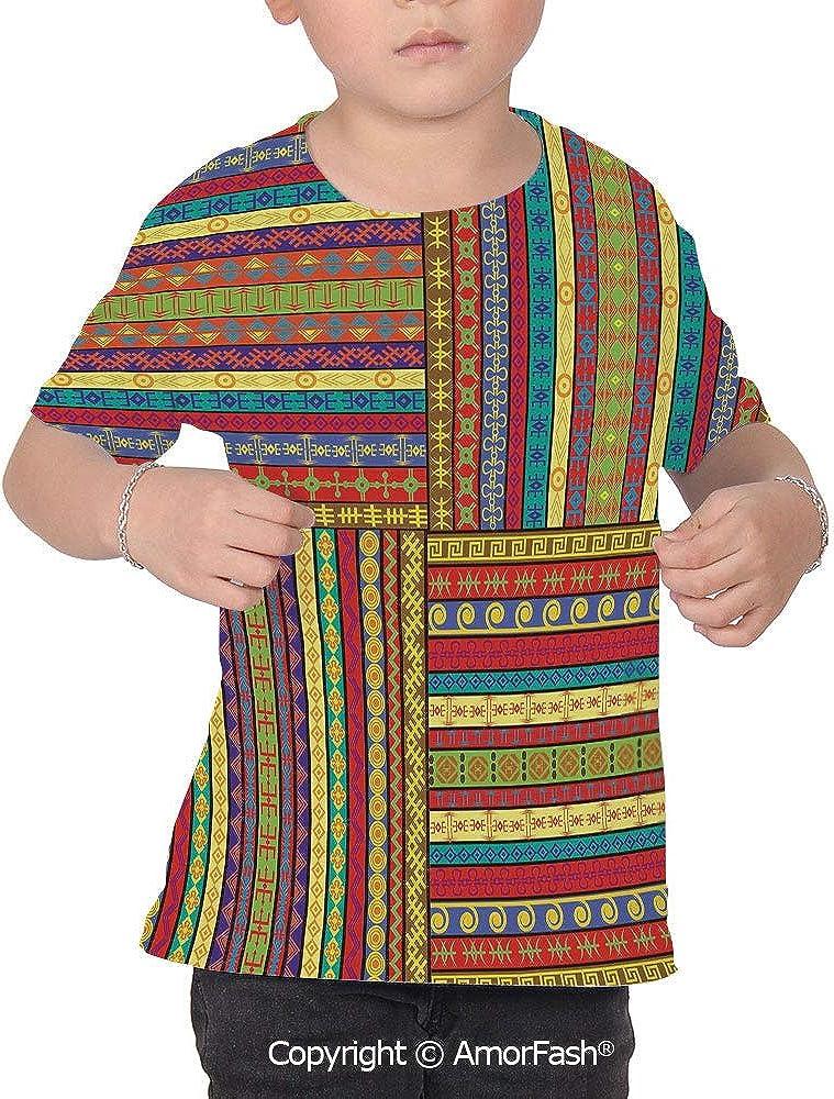 PUTIEN African All Over Print T-Shirt,95/% Polyester,Childrens Short Sleeve T-ShirtSet