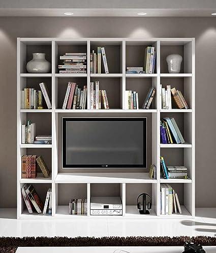 Libreria Porta Tv Legno.Zeroduezero Mobile Libreria Con Porta Tv In Legno Bianco