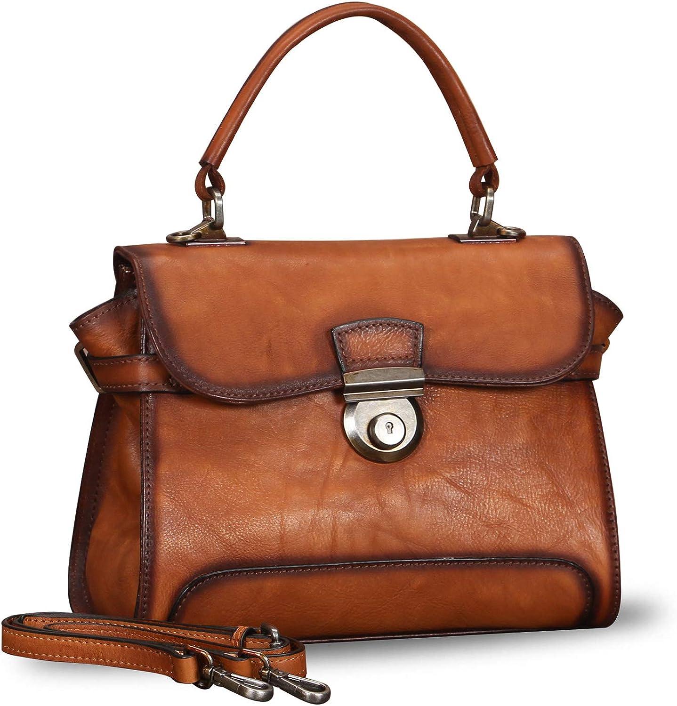 Genuine Leather Satchel Crossbody Bags for Women Handmade Vintage Top Handle Handbags Purses