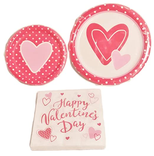 Valentines Party Dinner Plates, Dessert Plates and Napkins for 10 Guests
