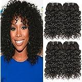 Urbeauty Brazilian Kinky Curly Hair 4 Bundles Human Hair Weave Extension Unprocessed Virgin Brazilian Curly Hair Weave Bundles Short Curly Hair Natural Color 50g/pc Total 200g Full Head