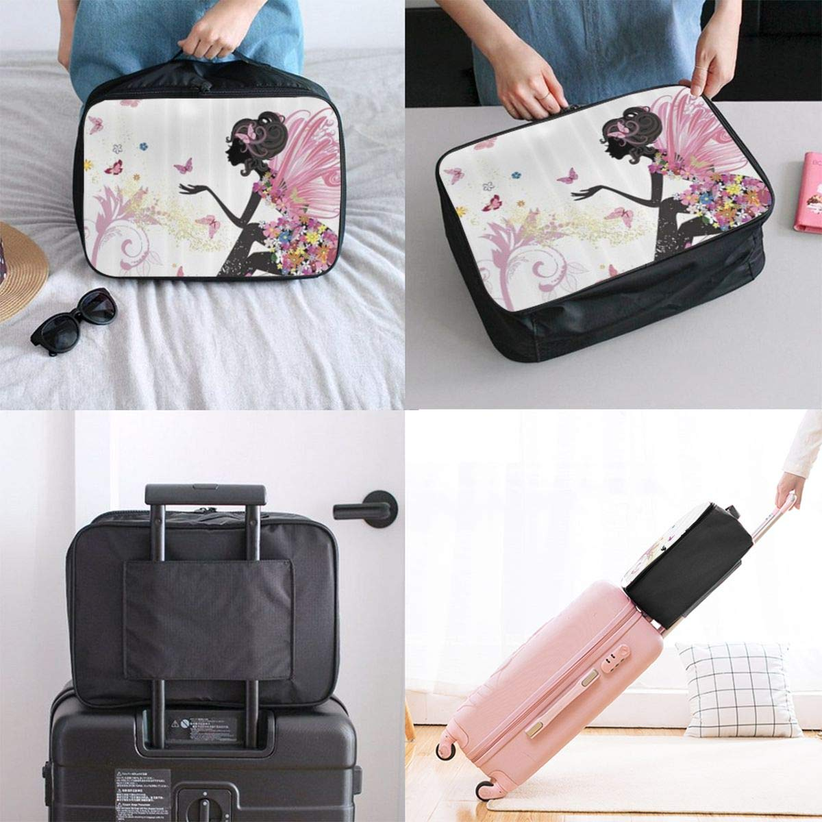 ADGAI Pink Butterfly Girl Canvas Travel Weekender Bag,Fashion Custom Lightweight Large Capacity Portable Luggage Bag,Suitcase Trolley Bag