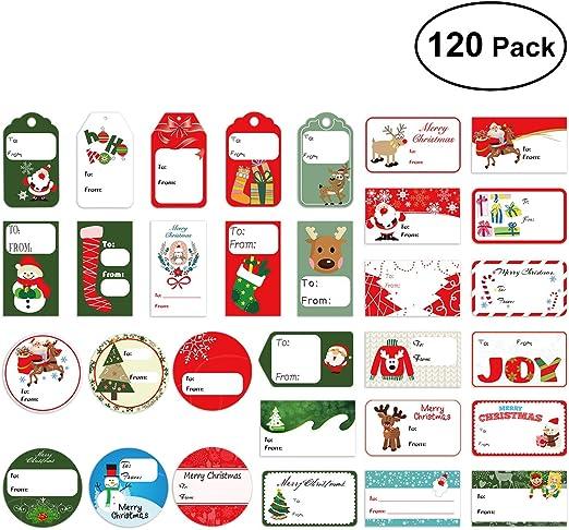 Amosfun120 etiquetas de regalo,calcomanías de regalo de Navidad.: Amazon.es: Hogar