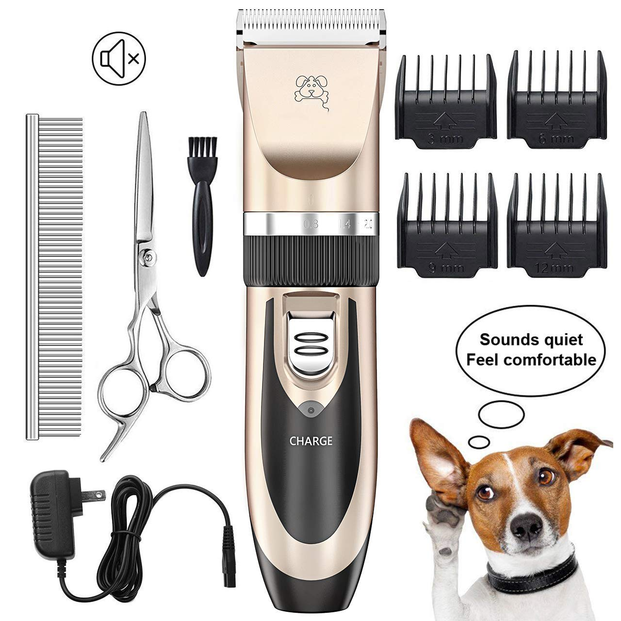 Dog Shaver Clipper Low Noise Rechargeable Cordless Electric Mute Hair Clipper Set for Dog Cat Pets and Other Fluffy Animals