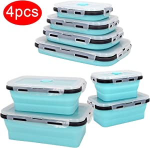 Plastic Food Storage Containers With Lids -4PC Silicone Collapsible BPA Free Lunch Box Airtight Vacuum Seal - Freezer Microwavable Food Containers For Fruit Leftover Food - Rv Organization And Storage
