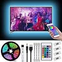 LED Light Strip, L8star 6.56ft(2m) USB TV Backlight Kit Light Strips for 40-60in TV Sync with Music App and Remote Control-5050 LED Bias Lighting for HDTV(6.56ft)
