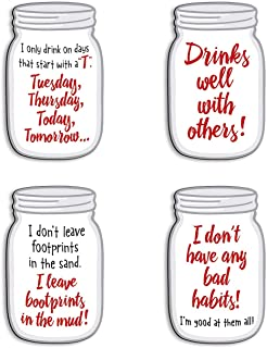 product image for Imagine Design Relatively Funny Days That Start with T, Drinks Well with Others, I Don't Leave Footprints in The Sand, I Don't Have Any Bad Habits 4-Pk Mason Jar Magnets, Red/Black/White