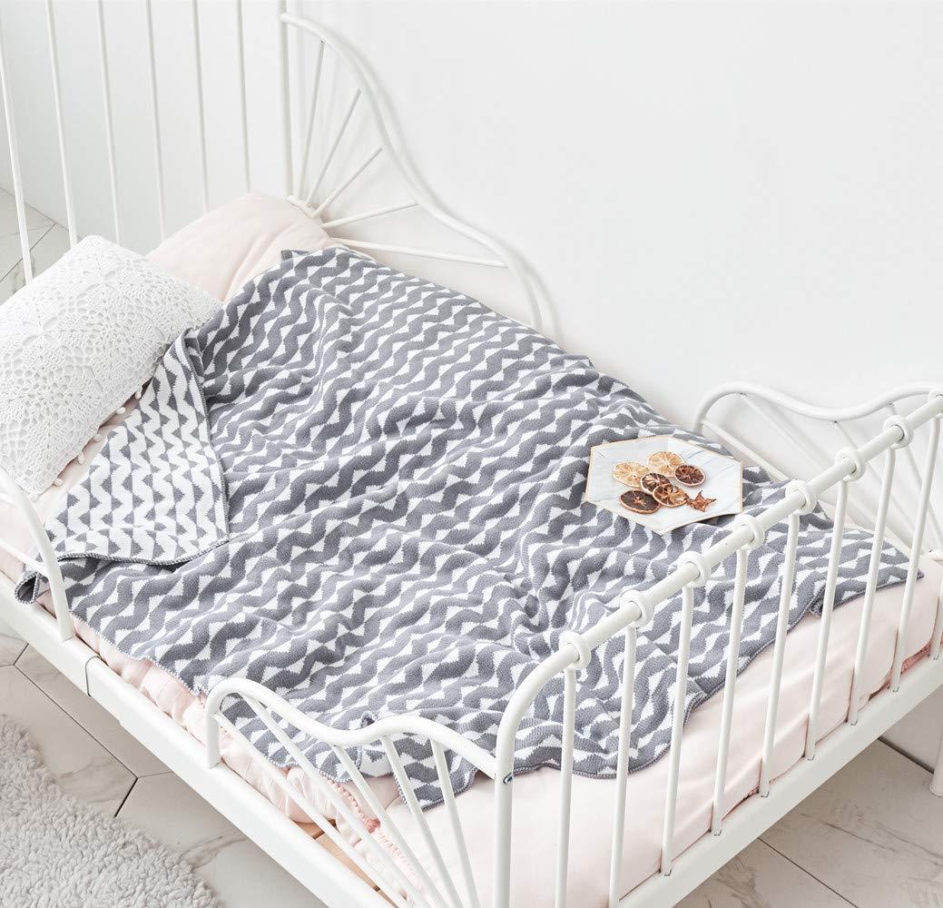 Manta de punto suave para beb/é y manta de beb/é gris cheur/ón ultrasuave manta para cunas y carritos.