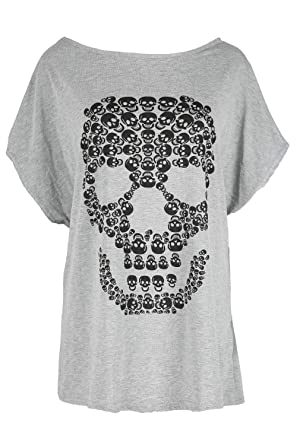 b9f80a67e45 Be Jealous Womens Halloween Party Baggy Lagenlook Top Ladies Spooky Skull  Batwing Scary Loose Fit T