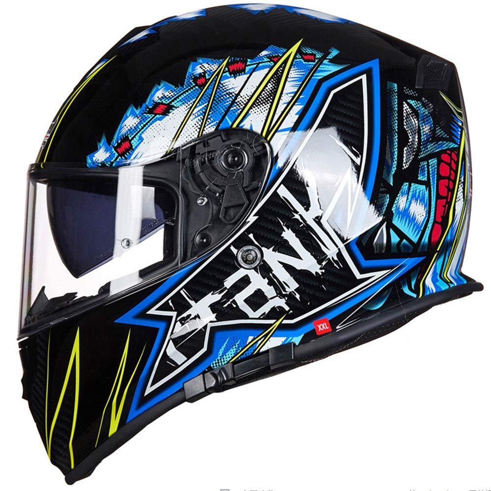 HYH オートバイフルフェイスヘルメットダブルレンズ四季普遍的なオフロードヘルメットアウトドアスポーツフルカバーライディングヘルメットABS青い花落書き いい人生 (Size : XXL) XX-Large  B07SCQFSZJ
