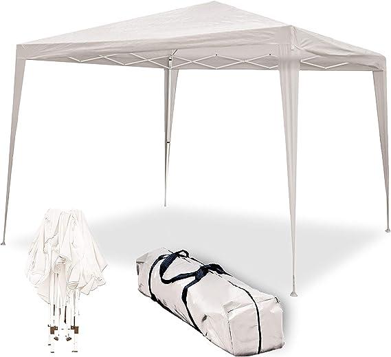 wasabi Carpa Plegable 3x3m Classic Beige de jardín, terraza, Camping, Playa
