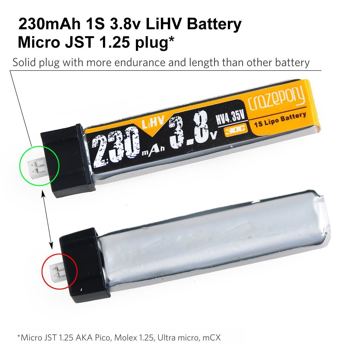 Crazepony 4pcs 230mah Hv 1s Lipo Battery 30c 38v For 350 Qx Wiring Diagram Tiny Whoop Blade Inductrix Micro Jst 125 Connector Toys Games