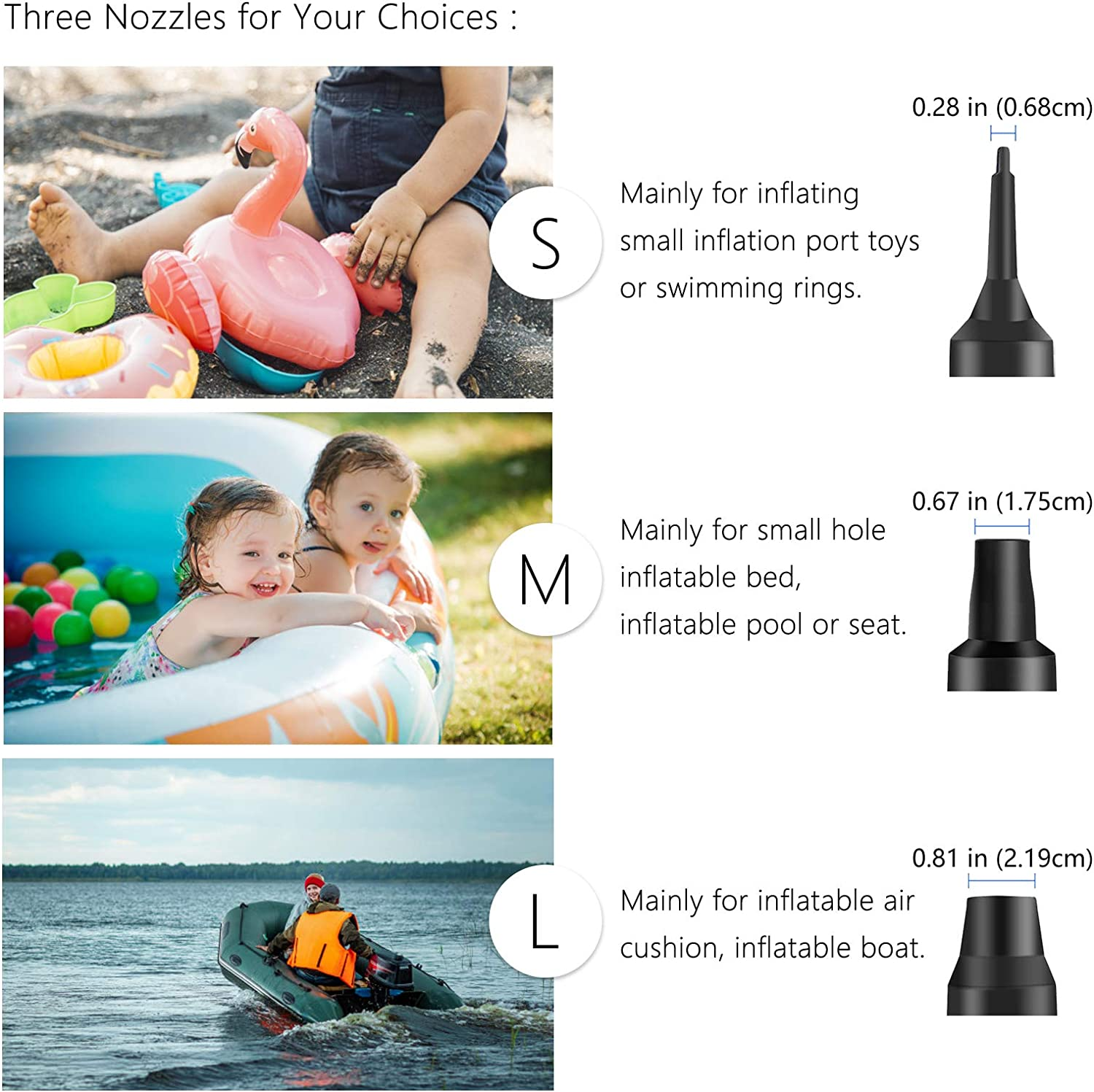 Sopito Electric Air Pump DC12V AC 100-240V Quick-Fill Portable Camping Electric Pumps with 3 Pump Nozzles for Inflatable Air Bed Lake Floats Rafts Pool Toys