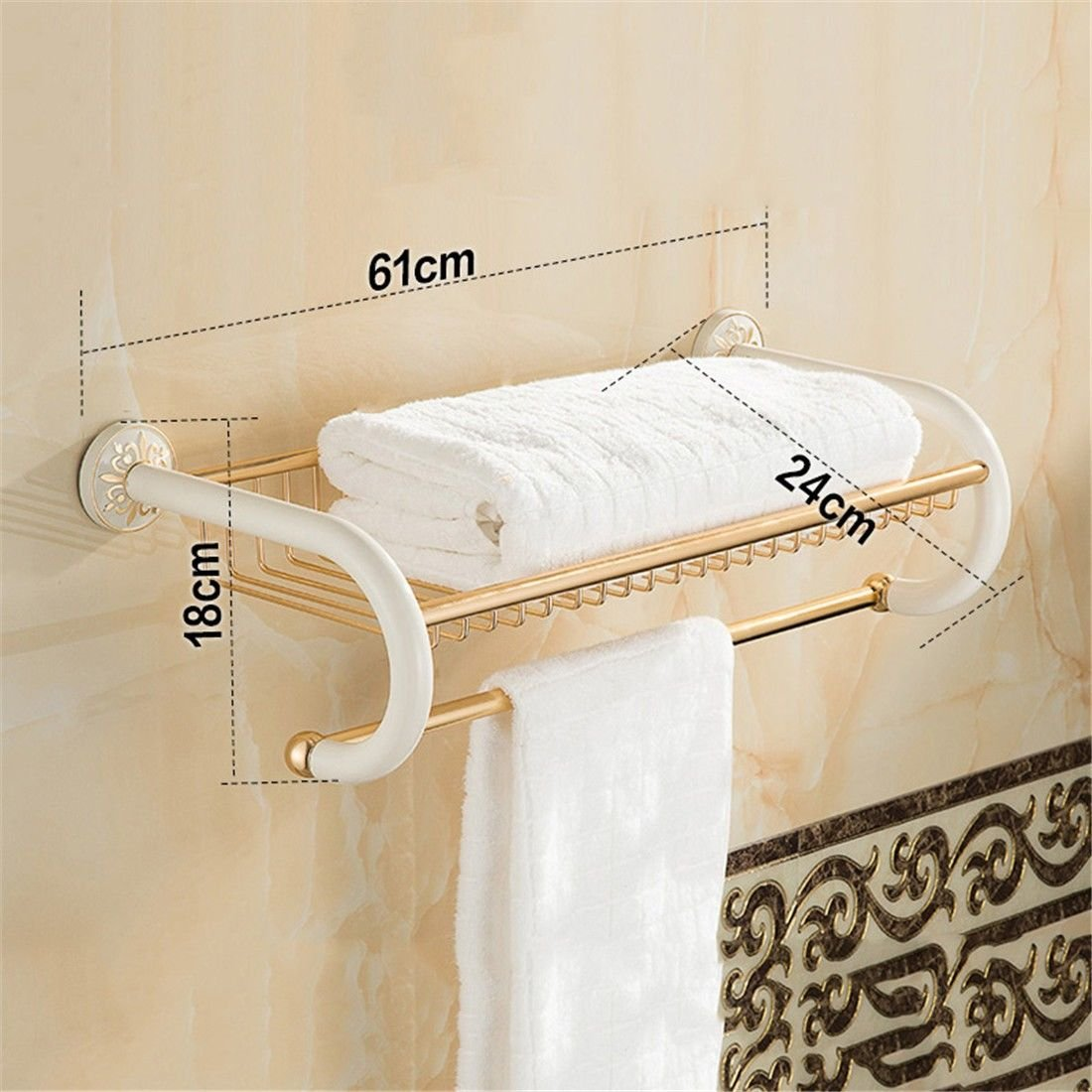 Yomiokla Bathroom Accessories - Kitchen, Toilet, Balcony and Bathroom Metal Towel Ring European White Space Aluminum Mount, Built-in Shelf 3