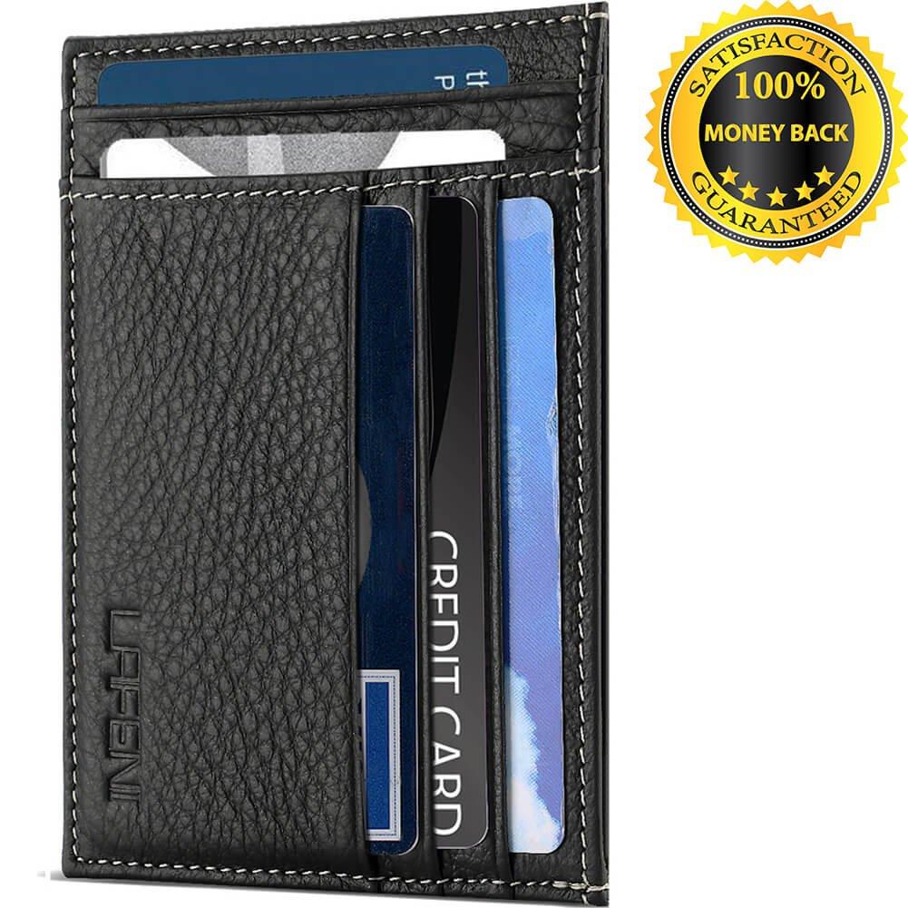 LAFENI Front Pocket Slim Genuine Leather Wallets With RFID Secure Thin Credit Card Holder (Black)