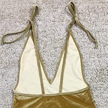 ASC Bikini de terciopelo dorado de moda para mujer con traje de ...