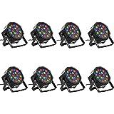Eyourlife 8PCS 18 X 3W LED DJ Par Lights 54W RGB PAR64 DMX512 For Stage Party Show