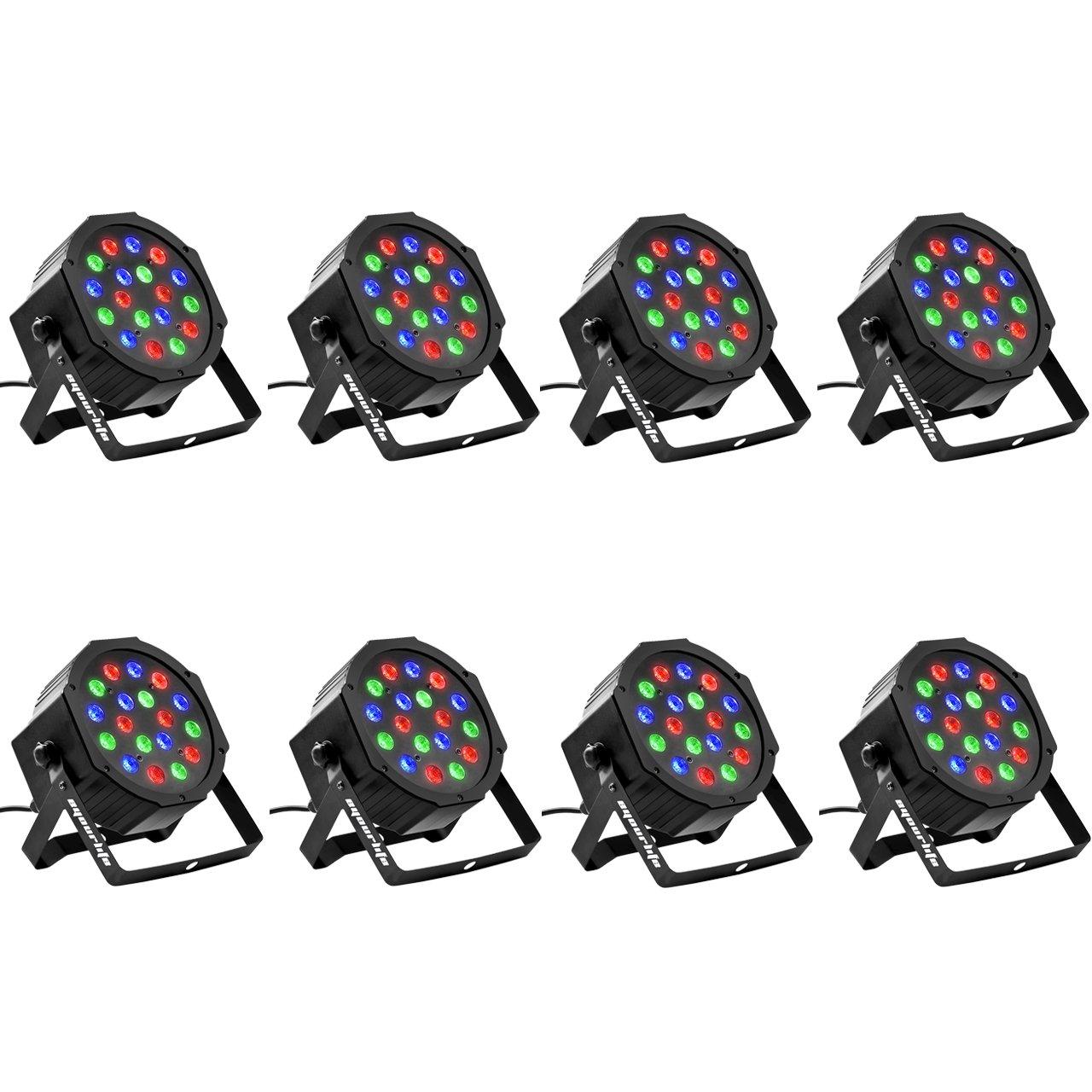 Eyourlife 8PCS 18 X 3W LED Stage Light DJ Par Lights 54W RGB Par 64 DMX512 Uplighting for Dj Stage Lighting Show Disco Party Light by Eyourlife