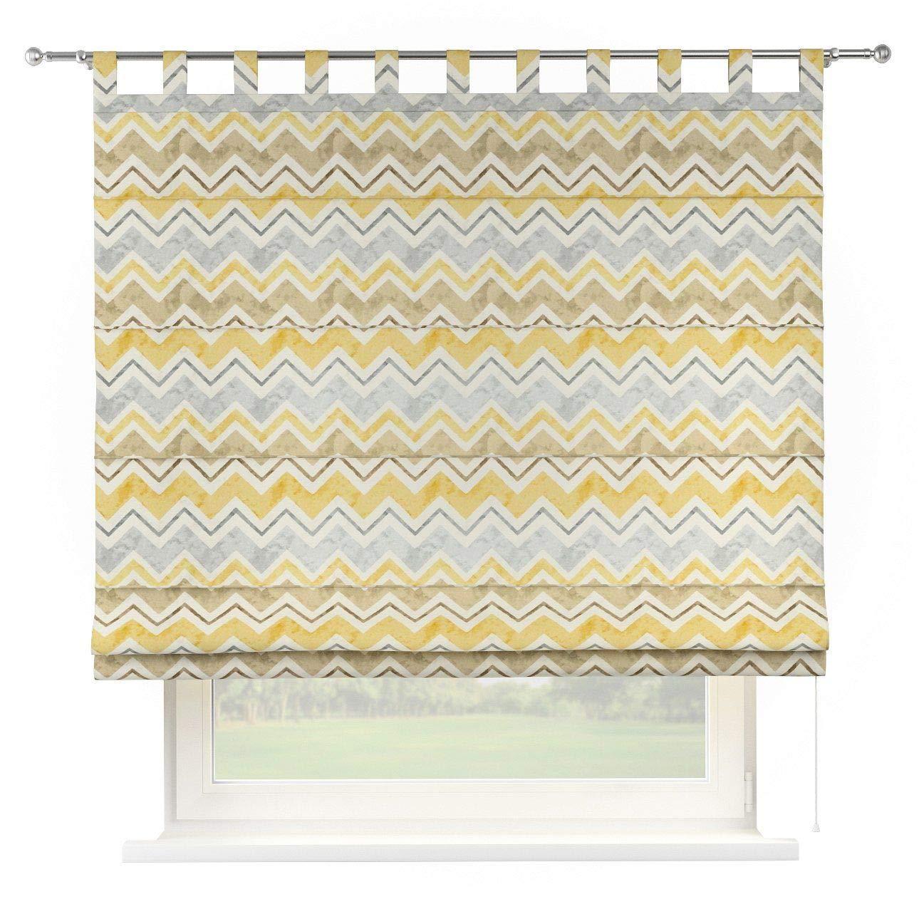 Dekoria Raffrollo Verona ohne Bohren Blickdicht Faltvorhang Raffgardine Wohnzimmer Schlafzimmer Kinderzimmer 160 × 170 cm gelb-grau-braun Raffrollos auf Maß maßanfertigung möglich