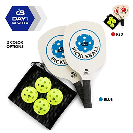 Day 1 Sports Pickleball Paddle Starter Set with 2 Blue Paddles, Carry Bag, 4