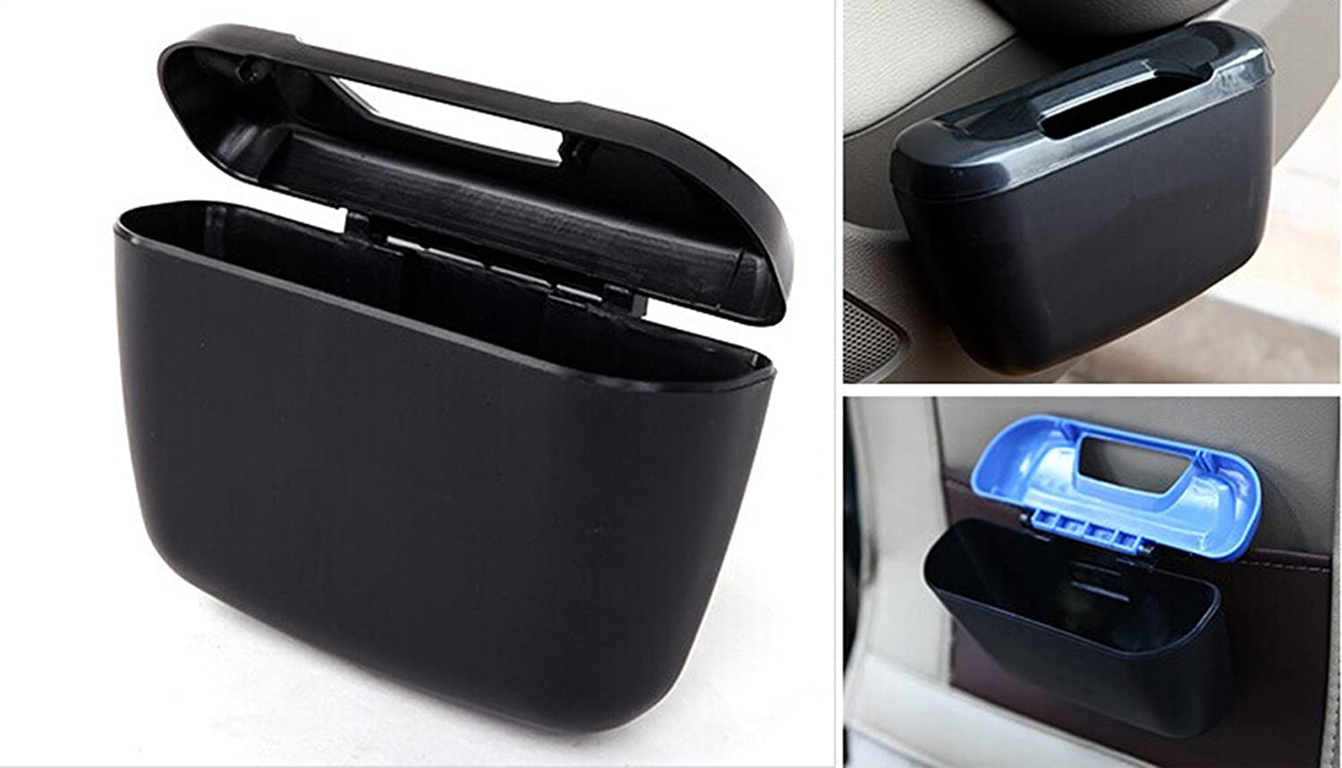 Car Garbage Can, Mini Auto Environment Cargo Trash Can Multifunction Plastic Storage Box Container Black Yosoo