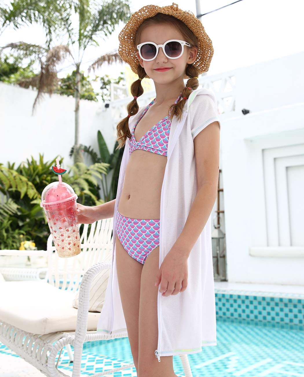 iDrawl Girls Kids Hooded Beach Towel Cover-up Soft Colorful Striped Bath Swim Cover Ups for Age 8 to 16