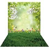 GoEoo 7X5ft Blue Paint House Seagull Flying Backdrop Flower Decoration Empty Bench Picture Background Outdoor Shooting Props LYNAN096