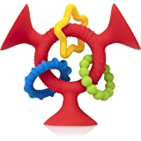 Nuby Silly Three Prong Interactive Suction Toy with Colorful Rings, Red