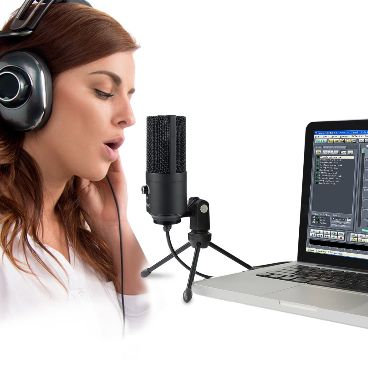 galleon usb microphone fifine metal condenser recording microphone for laptop mac or windows. Black Bedroom Furniture Sets. Home Design Ideas