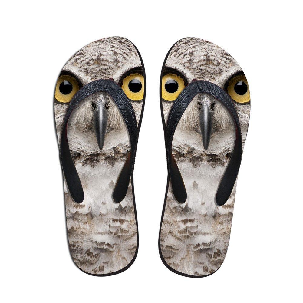 Coloranimal 3D Animal Printed Flip Flops for Women Non Slip Home Rubber Slipper Flats B07CWL99JF 7-8 B(M) US|Owl