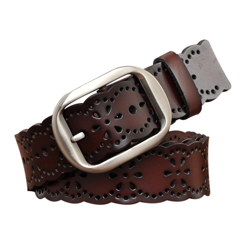 TUNGHO Vintage Women's Hollow Flower Genuine Leather Belt With Needle Buckle (XL, Dark Brown)